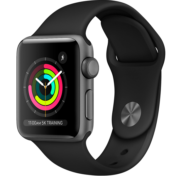 Cмарт часы Apple Watch Series 3 38mm Space Grey Aluminium Black Band MTF02