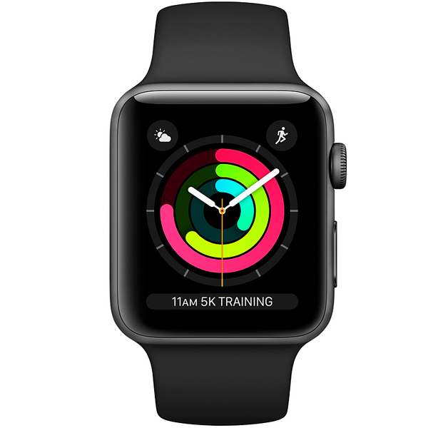 Cмарт часы Apple Watch Series 3 38mm Space Grey with sport band (MTF02)