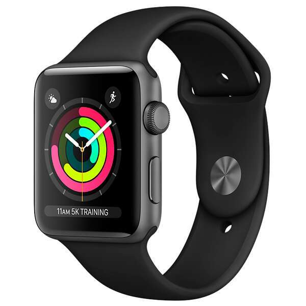 Cмарт часы Apple Watch Series 3 42mm Space Grey Aluminium Black Band MTF32