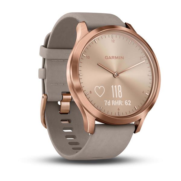 Спортивные часы Garmin vívomove HR розовое золото с бежевым кожаным ремешком (010-01850-09)