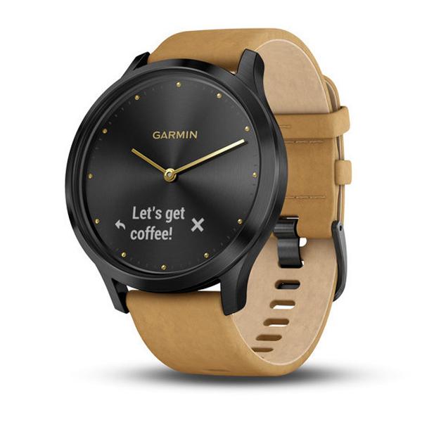 Спортивные часы Garmin vívomove HR  010-01850-00 черный с светло-коричневым кожаным ремешком