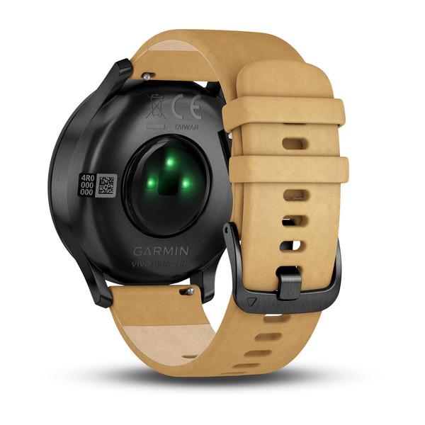 Спортивные часы Garmin vívomove HR черный с светло-коричневым кожаным ремешком (010-01850-00)