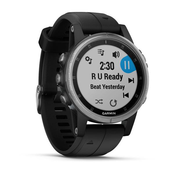 Часы с GPS навигатором Garmin Fenix 5S Plus Серебристые с черным (010-01987-21)