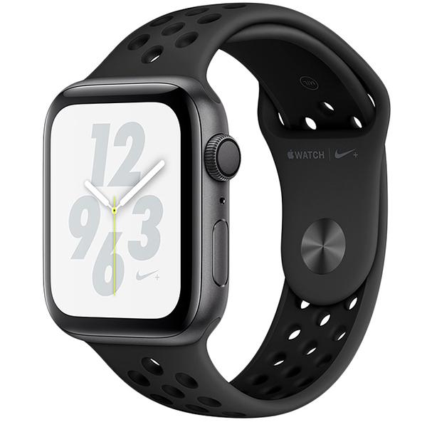 Apple Watch смарт сағаттары Nike+ Series 4 silver 44mm қара түсті спорттық бау (MU6L2GK/A)