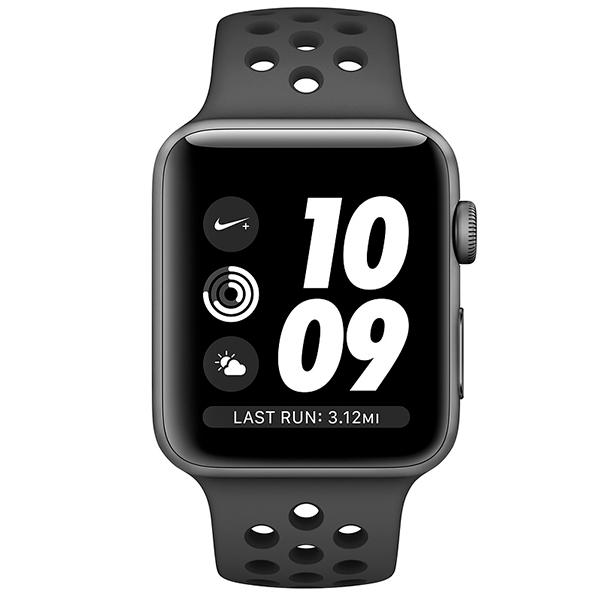Смарт часы Apple Watch Nike+ Series 3 38mm Space Grey спортивный ремешок черного цвета (MTF12GK/A)