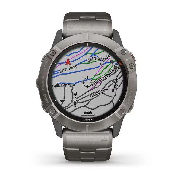 Смарт часы Garmin Fenix 6X Pro Solar титановый с титановым браслетом