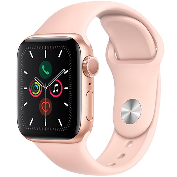 Смарт часы Apple Watch Series 5 40mm Gold, ремешок розового цвета (MWV72)