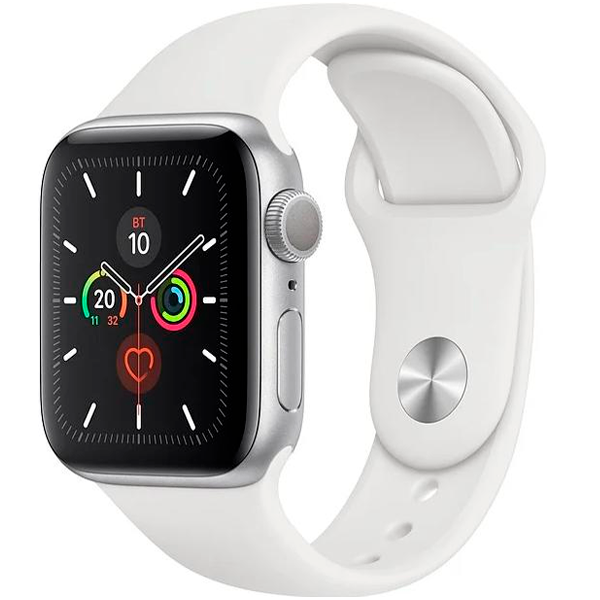 Смарт часы Apple Watch Series 5 44mm Silver, ремешок белого цвета (MWVD2)