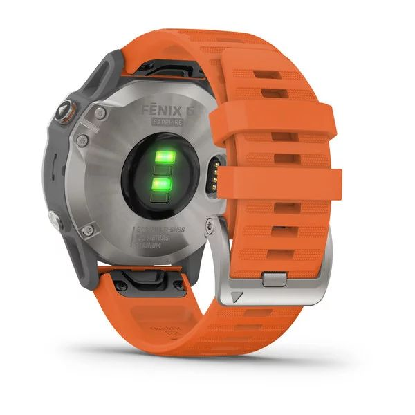 Смарт часы Garmin Fenix 6 Sapphire титановый с оранжевым ремешком (010-02158-14)