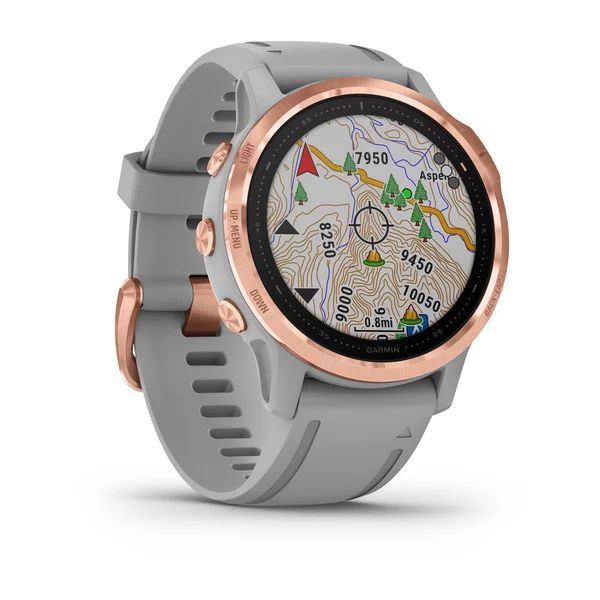 Смарт часы Garmin Fenix 6s Sapphire розовое золото с серым ремешком