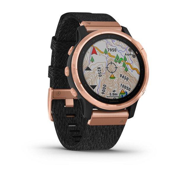 Смарт часы Garmin Fenix 6s Sapphire розовое золото с черным нейлоновым ремешком