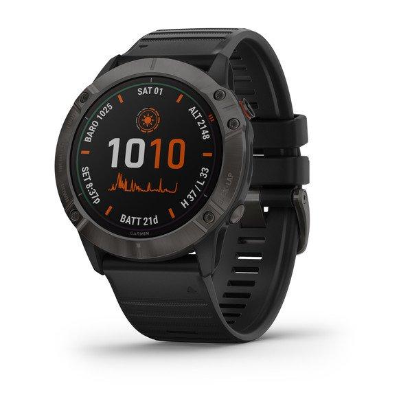 Смарт часы Garmin Fenix 6X Pro Solar титановый серый с черным ремешком