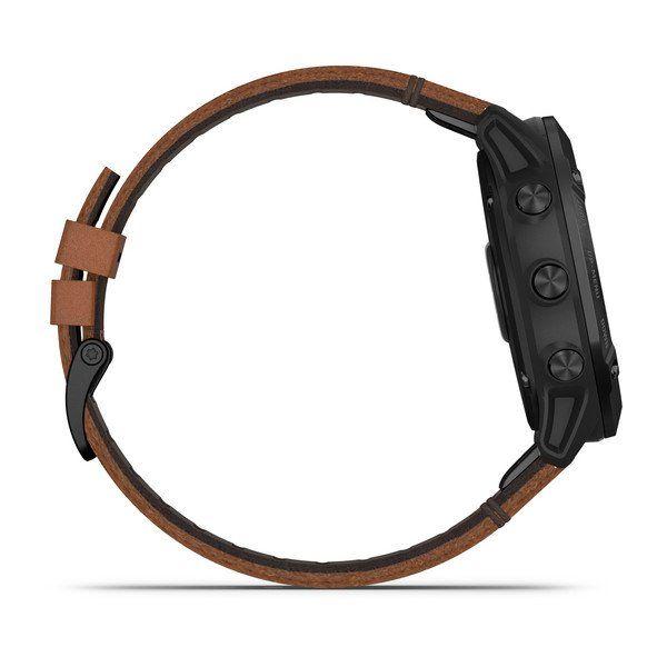 Смарт часы Garmin Fenix 6X Sapphire черный с каштановым кожаным ремешком