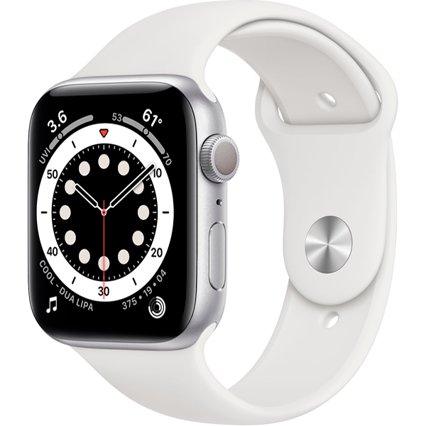 Смарт часы Apple Watch Series 6 44mm Silver Aluminium White Band M00D3