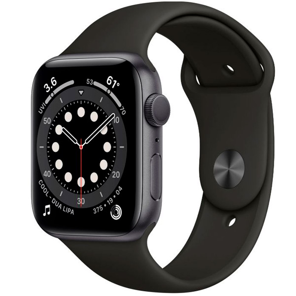 Смарт часы Apple Watch Series 6 44mm Space Gray Aluminium Black Band M00H3
