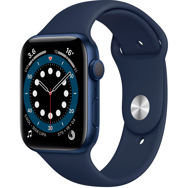 Смарт часы Apple Watch Series 6 GPS 44mm Blue Aluminium Case with Deep Navy Sport Band (M00J3)
