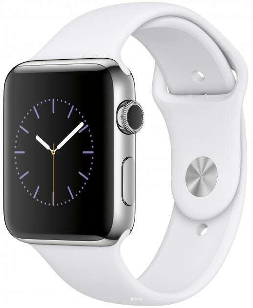 Смарт часы Apple Watch Series 2 Silver, спортивный ремешок белого цвета (MNPR2)