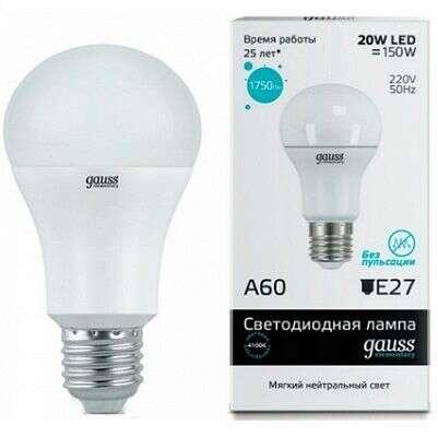 LED лампа Gauss Elementary LED A60 20W E27 4100K