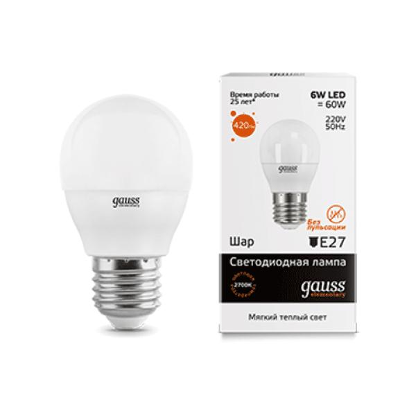 LED лампа Gauss Elementary Globe 6W E27 2700K