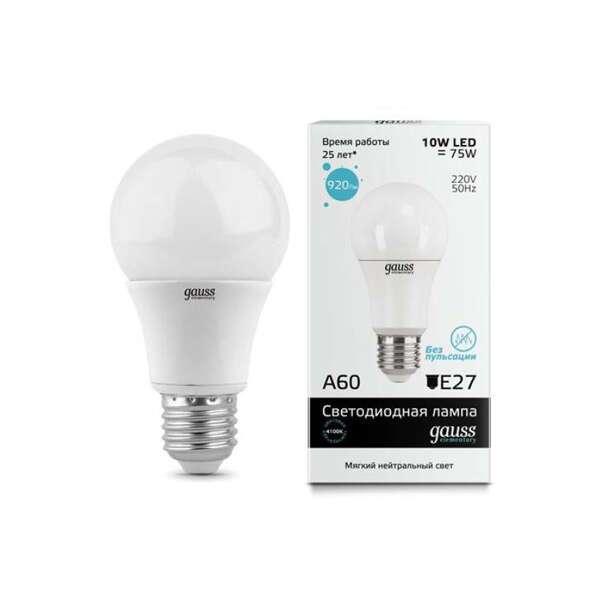 LED лампа Gauss Elementary A60 E27 10W 4100K 1/40