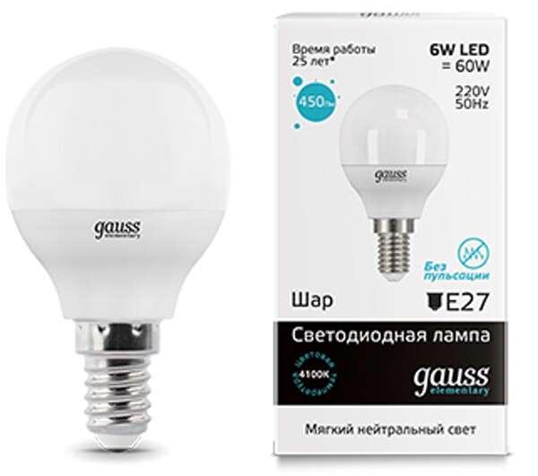LED лампа Gauss Elementary Globe 6W E14 4100K