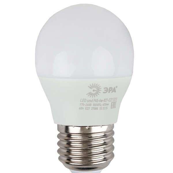 Светодиодная лампа ЭРА ECO LED Р45-6W-827-E27