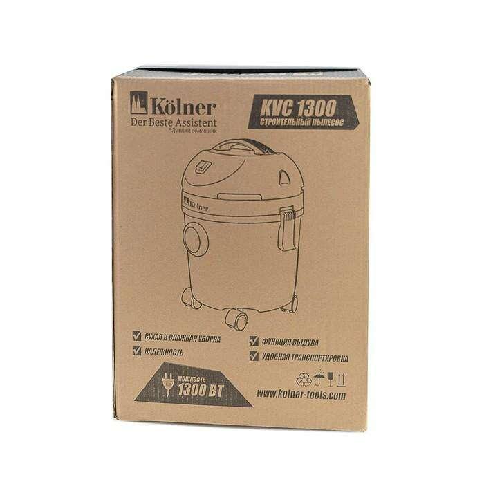 Строительный пылесос Kolner KVC 1300, 1300Вт, объем бака 15 л