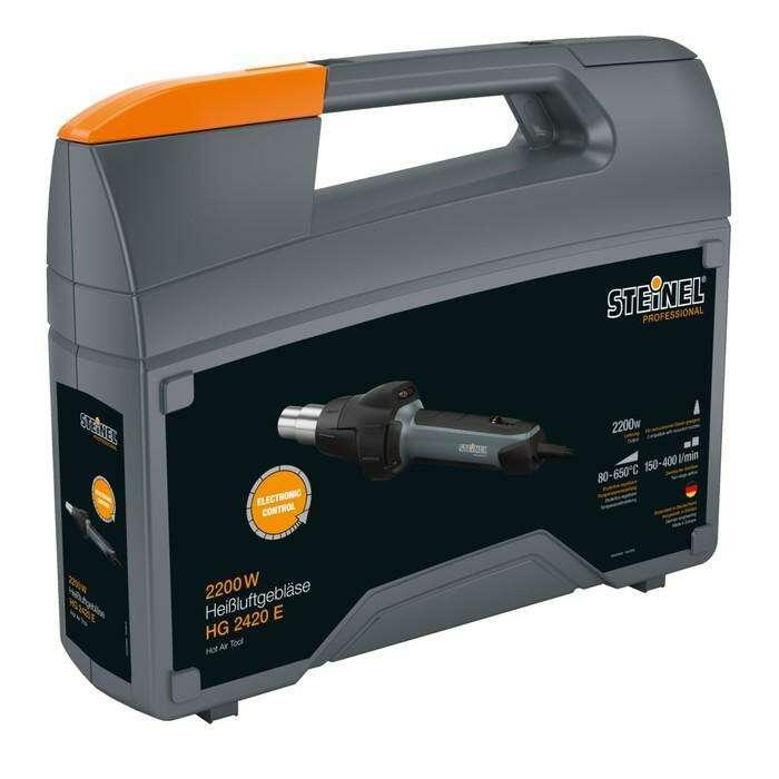 Фен технический Steinel HG 2420 E, 2200 Вт, 80-650 °C, 150-400 л/мин, 9 режимов, 2 м, кейс