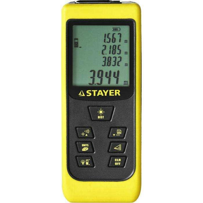 """Дальномер STAYER """"MASTER"""" MAX-Control, лазерный, 2 точки, дальность 50м, точность 2мм"""
