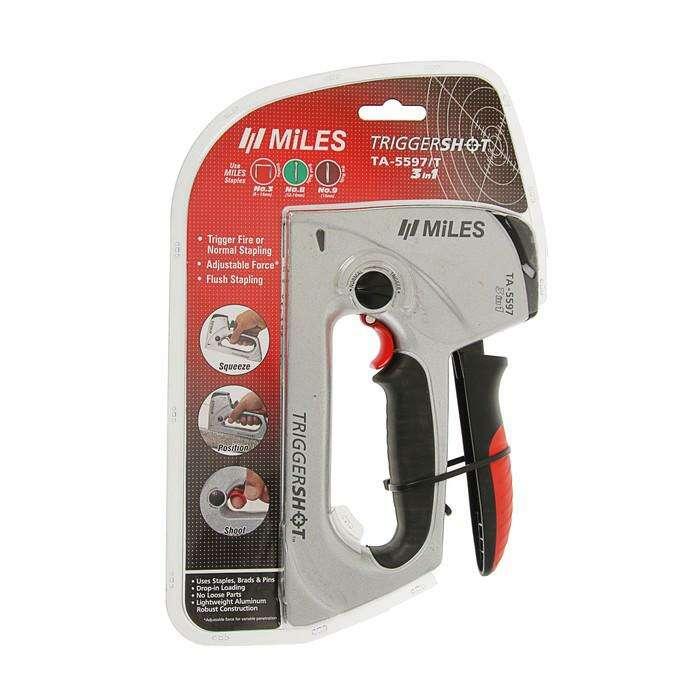 Степлер мебельный Miles, 6-14 мм, тип 41, 48, 53, алюмин.корпус, механизм спускового крюка